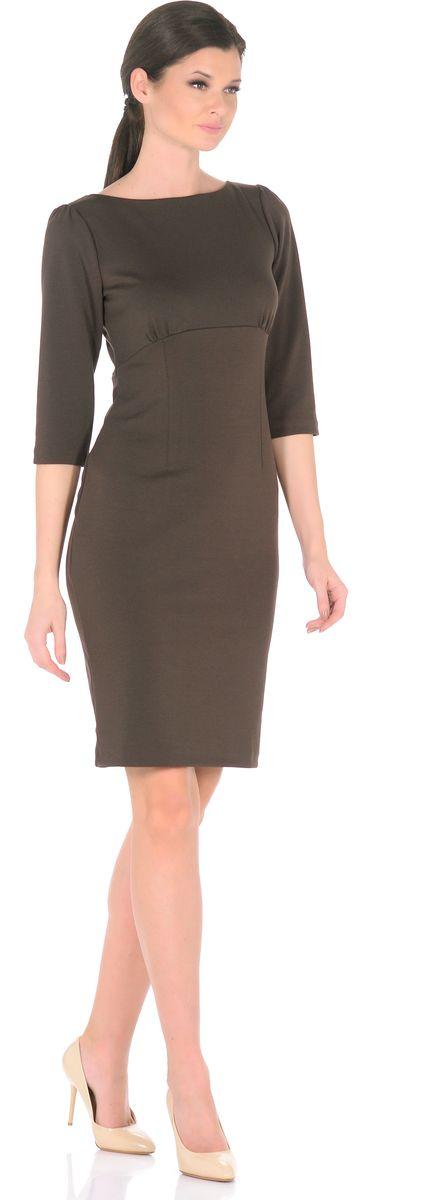 Платье Rosa Blanco, цвет: темно-коричневый. 3193-26. Размер 443193-26Модное платье Rosa Blanco станет отличным дополнением к вашему гардеробу. Модель изготовлена из сочетания качественных материалов. Платье-миди выполнено с удобным приталенным силуэтом и рукавами 3/4. Изделие имеет круглый вырез горловины и застегивается сзади по спинке на пуговицу. Платье оформлено вытачками, которые выделяют талию и изгибы силуэта, а специальный подрез под грудью со сборкой заботится об оптимальной посадке.