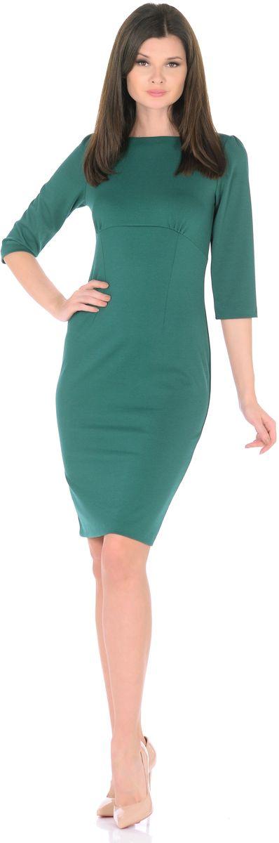 Платье Rosa Blanco, цвет: темно-зеленый. 3193-51. Размер 463193-51Модное платье Rosa Blanco станет отличным дополнением к вашему гардеробу. Модель изготовлена из сочетания качественных материалов. Платье-миди выполнено с удобным приталенным силуэтом и рукавами 3/4. Изделие имеет круглый вырез горловины и застегивается сзади по спинке на пуговицу. Платье оформлено вытачками, которые выделяют талию и изгибы силуэта, а специальный подрез под грудью со сборкой заботится об оптимальной посадке.
