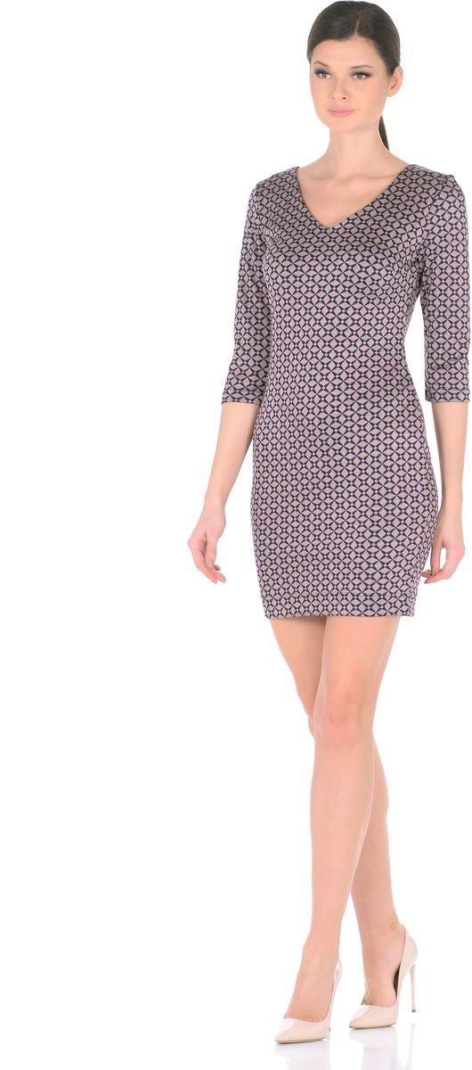 Платье Rosa Blanco, цвет: синий, бежевый. 3194-З1. Размер 463194-З1Стильное трикотажное платье Rosa Blanco станет отличным дополнением к вашему гардеробу. Модель изготовлена из сочетания качественных материалов. Платье-миди выполнено с оригинальным V-образным вырезом горловины и короткими рукавами 3/4. Модель не имеет застежек. Платье приобретает особый шарм благодаря своей лаконичности иоптимальной посадки по фигуре.