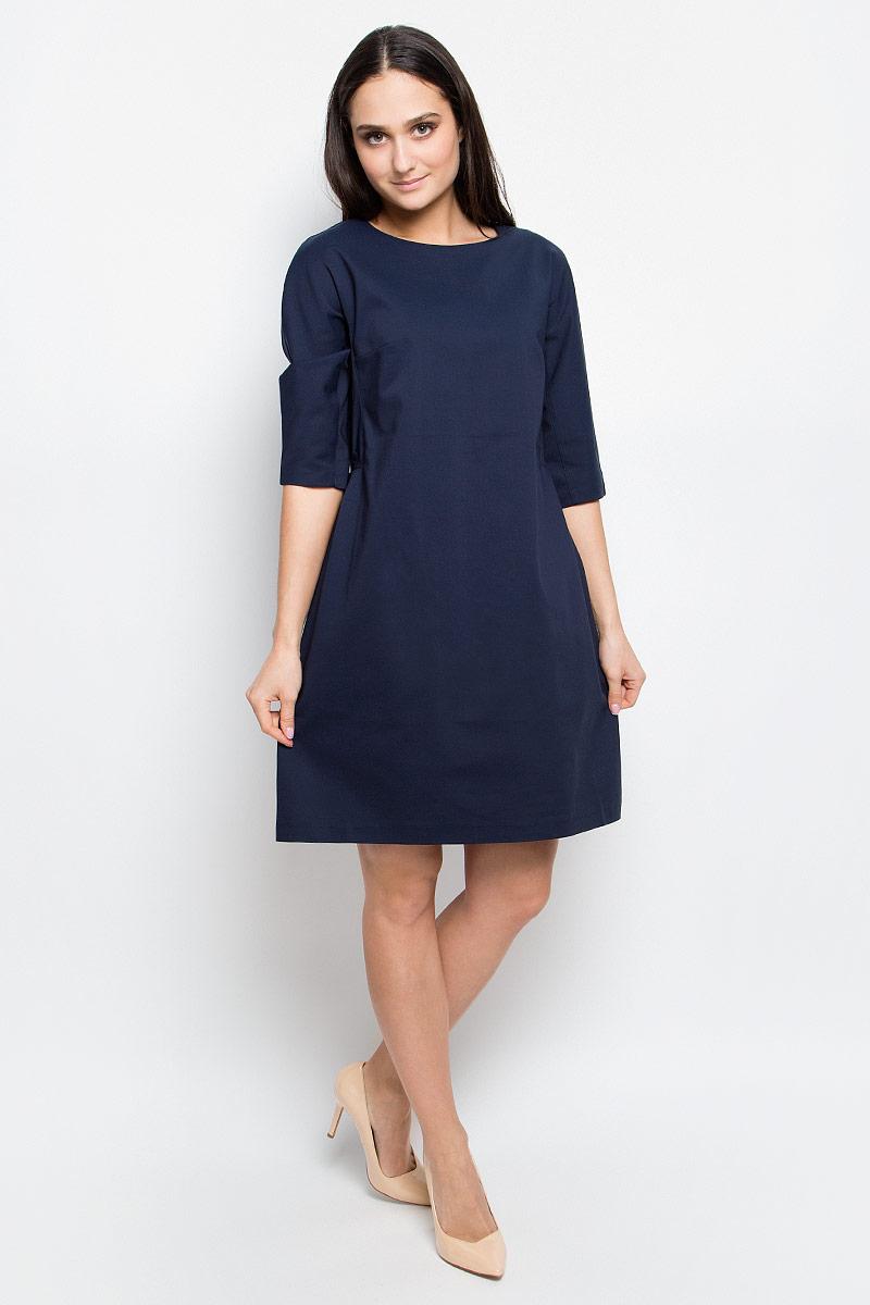 Платье Baon, цвет: темно-синий. B457020. Размер L (48)B457020_Dark NavyСтильное платье Baon выполнено из хлопка с добавлением полиамида и эластана. Модель с круглым вырезом горловины и рукавами 3/4 сзади застегивается на застежку-молнию.