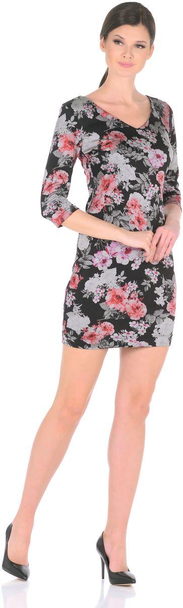 Платье Rosa Blanco, цвет: черный, мультиколор. 3194-Р1. Размер 483194-Р1Стильное трикотажное платье Rosa Blanco станет отличным дополнением к вашему гардеробу. Модель изготовлена из сочетания качественных материалов. Платье-миди выполнено с оригинальным V-образным вырезом горловины и короткими рукавами 3/4. Модель не имеет застежек. Платье приобретает особый шарм благодаря красочному цветочному принту и оптимальной посадки по фигуре.