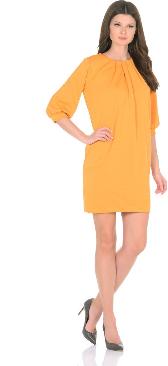 Платье Rosa Blanco, цвет: желтый. 3285-5. Размер 463285-5Модное платье Rosa Blanco станет отличным дополнением к вашему гардеробу. Модель изготовлена из сочетания качественных материалов. Платье-миди прямого кроя и рукавами 3/4 имеет круглый вырез горловины. Модель без застежек. Платье приобретает особый шарм за счет стильных складок у горловины и на рукавах. В боковых швах изделие дополнено двумя втачными карманами.