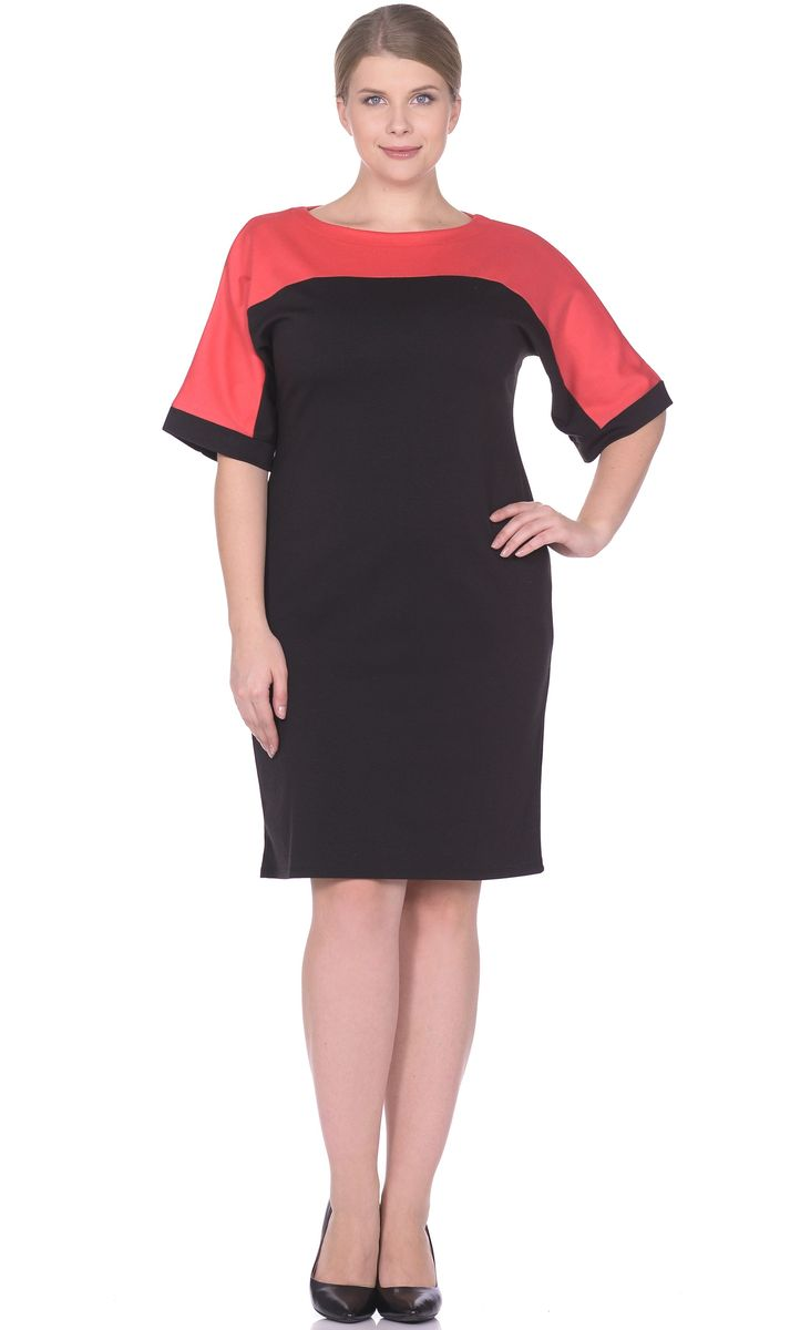 Платье Rosa Blanco, цвет: черный, коралловый. 33010-1-20. Размер 5433010-1-20Модное платье Rosa Blanco станет отличным дополнением к вашему гардеробу. Модель изготовлена из сочетания качественных материалов. Платье-миди выполнено с цельнокроеными рукавами 3/4 и вырезом горловины-лодочка. Модель не имеет застежек.