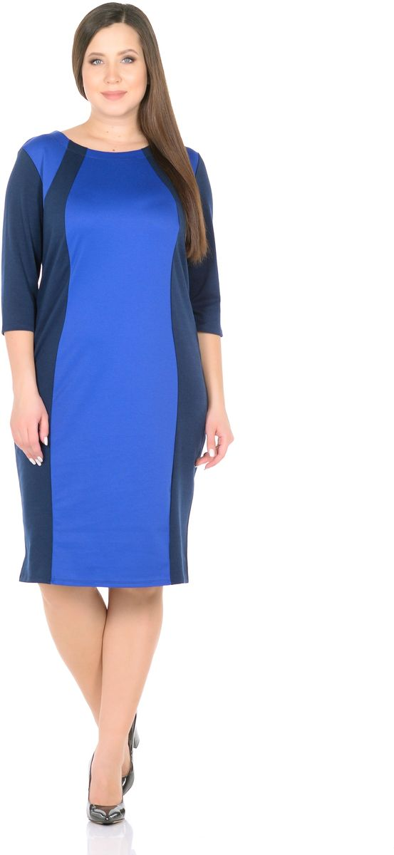 Платье Rosa Blanco, цвет: темно-синий, синий. 33049-11-12. Размер 5633049-11-12Модное платье Rosa Blanco станет отличным дополнением к вашему гардеробу. Модель изготовлена из сочетания качественных материалов. Платье-миди выполнено с удобным приталенным силуэтом и рукавами 3/4. Изделие имеет круглый вырез горловины. Модель без застежек. Платье приобретает особый шарм за счет контрастной вставки по центру.