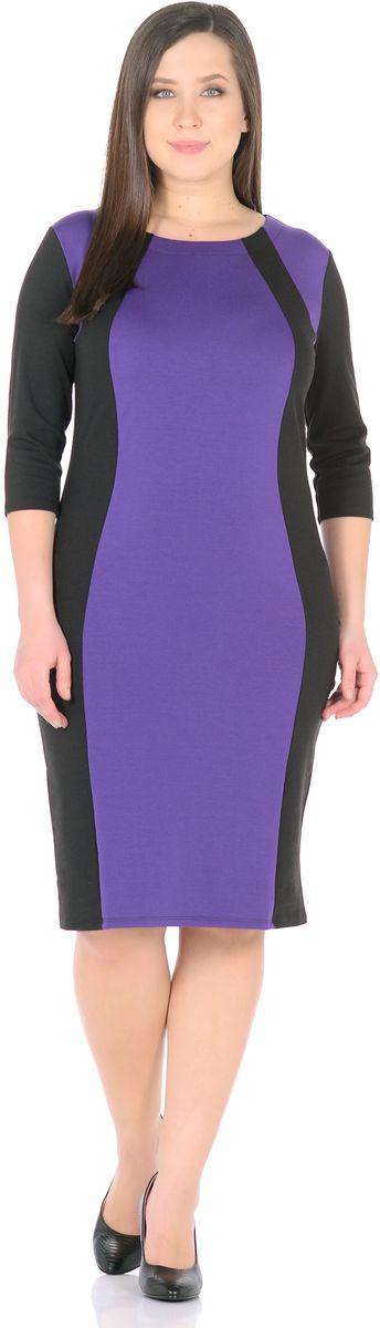 Платье Rosa Blanco, цвет: черный, фиолетовый. 33049-1-15. Размер 5033049-1-15Модное платье Rosa Blanco станет отличным дополнением к вашему гардеробу. Модель изготовлена из сочетания качественных материалов. Платье-миди выполнено с удобным приталенным силуэтом и рукавами 3/4. Изделие имеет круглый вырез горловины. Модель без застежек. Платье приобретает особый шарм за счет контрастной вставки по центру.