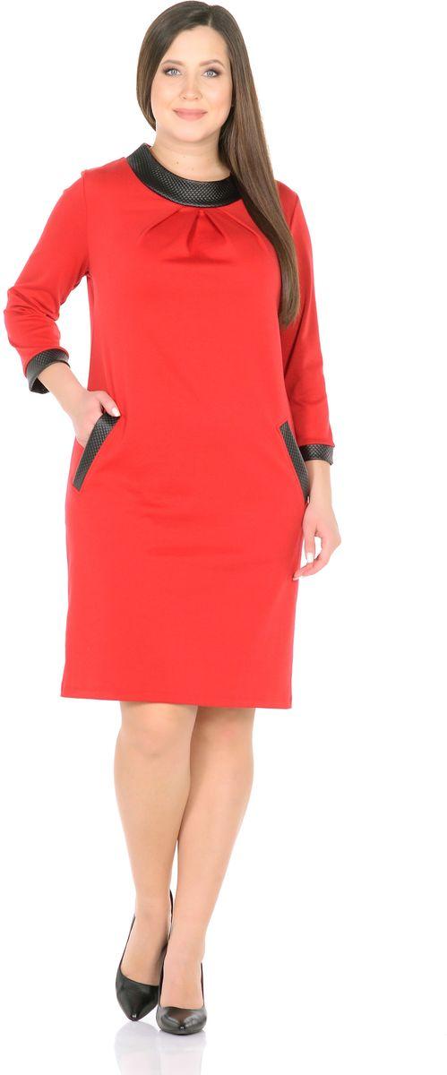 Платье Rosa Blanco, цвет: красный, черный. 33148-36-К1. Размер 5833148-36-К1Модное платье Rosa Blanco станет отличным дополнением к вашему гардеробу. Модель изготовлена из сочетания качественных материалов. Платье-миди свободного силуэта выполнено с оригинальным воротником-стойка и короткими рукавами 3/4. Модель не имеет застежек. Платье приобретает особый шарм благодаря широкой контрастной отделке из искусственной кожи по краям рукавов, карманов и высокого воротника.