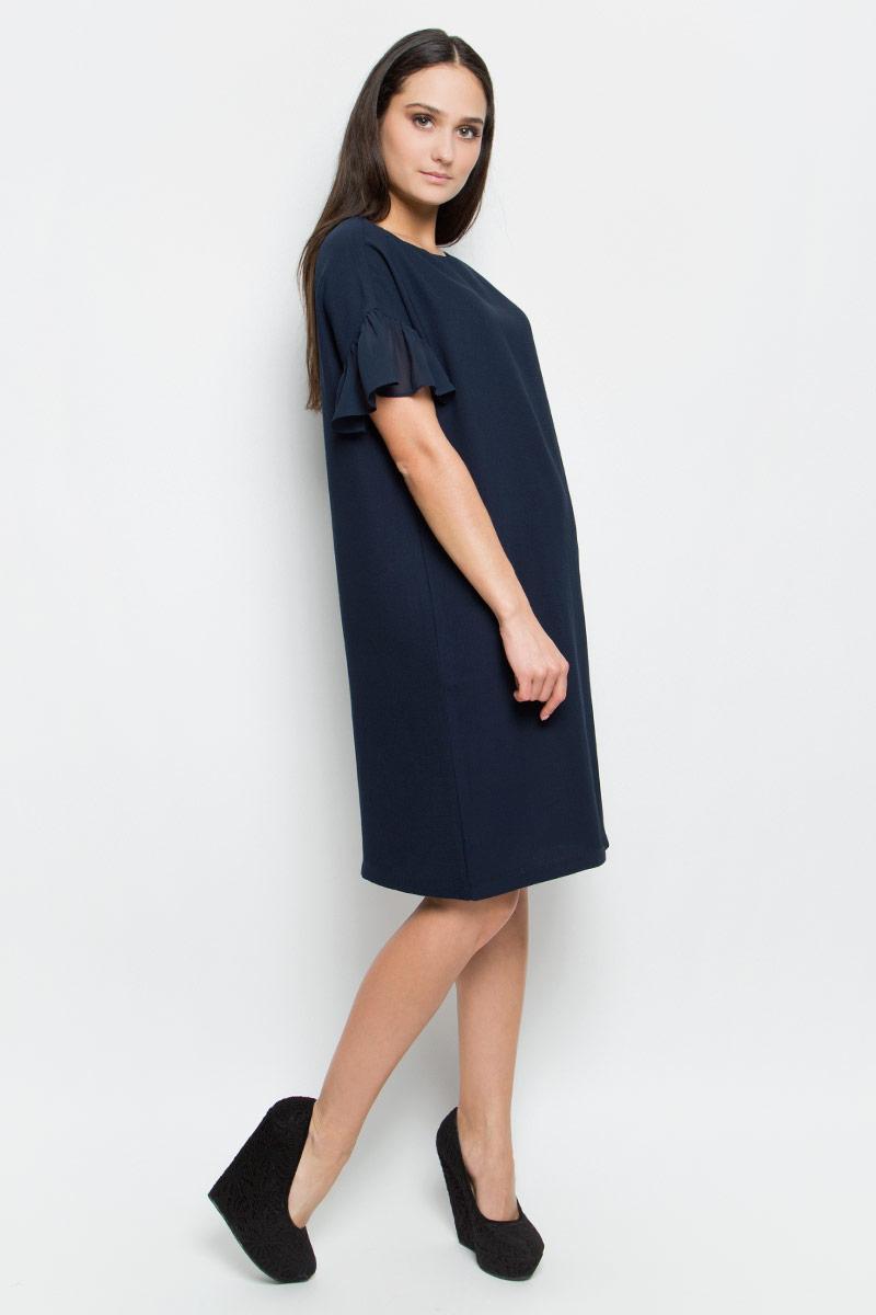 Платье Baon, цвет: темно-синий. B457042. Размер L (48)B457042_Dark NavyСтильное платье Baon изготовлено из качественного полиэстера. Модель-миди с круглым вырезом горловины и короткими рукавами-крылышко застегивается сзади по спинке на потайную молнию. В боковых швах по бокам имеются два втачных кармана. Оформлено платье в лаконичном дизайне.