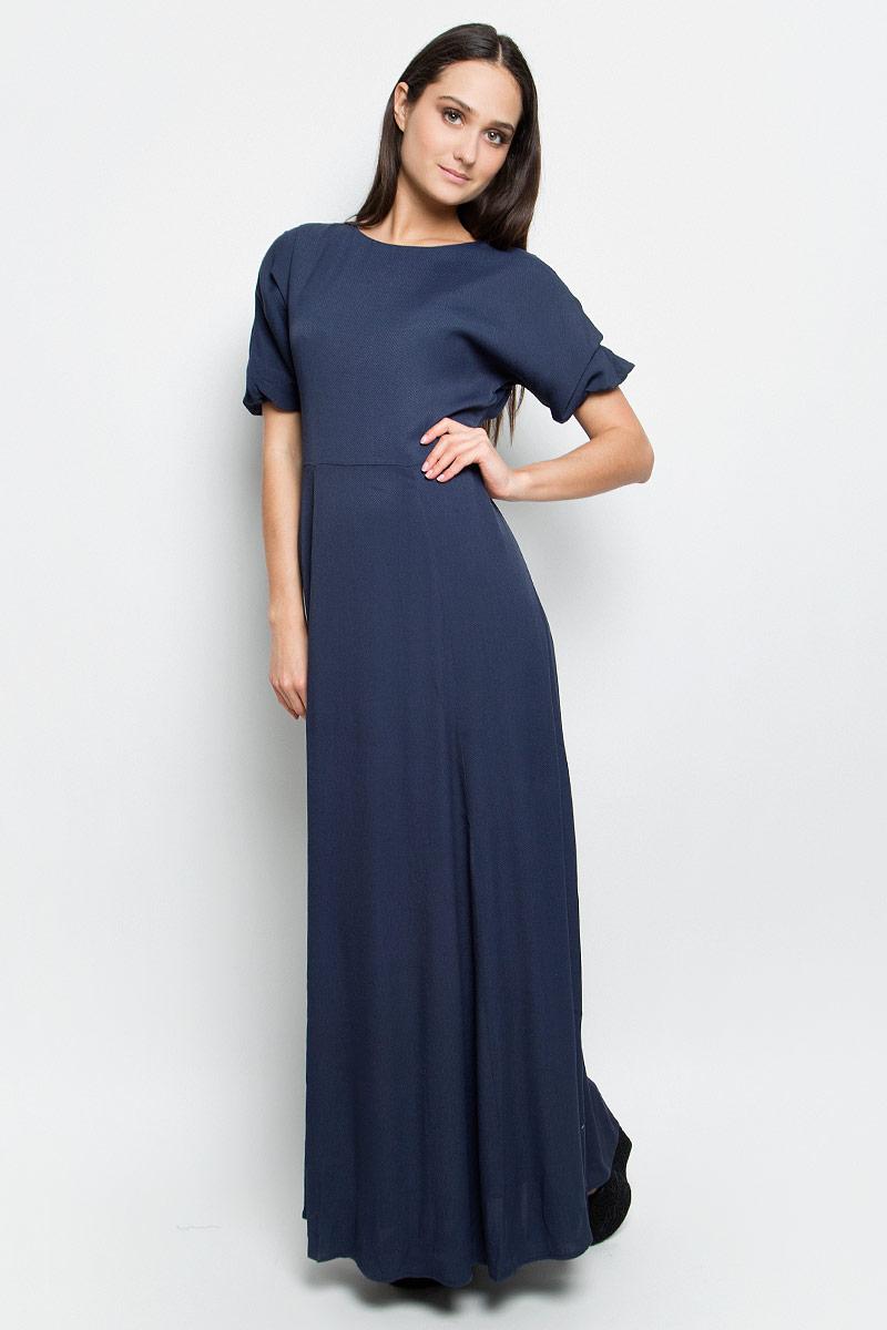 Платье Baon, цвет: темно-синий. B457025. Размер L (48)B457025_Dark NavyСтильное платье Baon выполнено из 100% вискозы. Модель с круглым вырезом горловины и кроткими рукавами сзади застегивается на застежку-молнию.