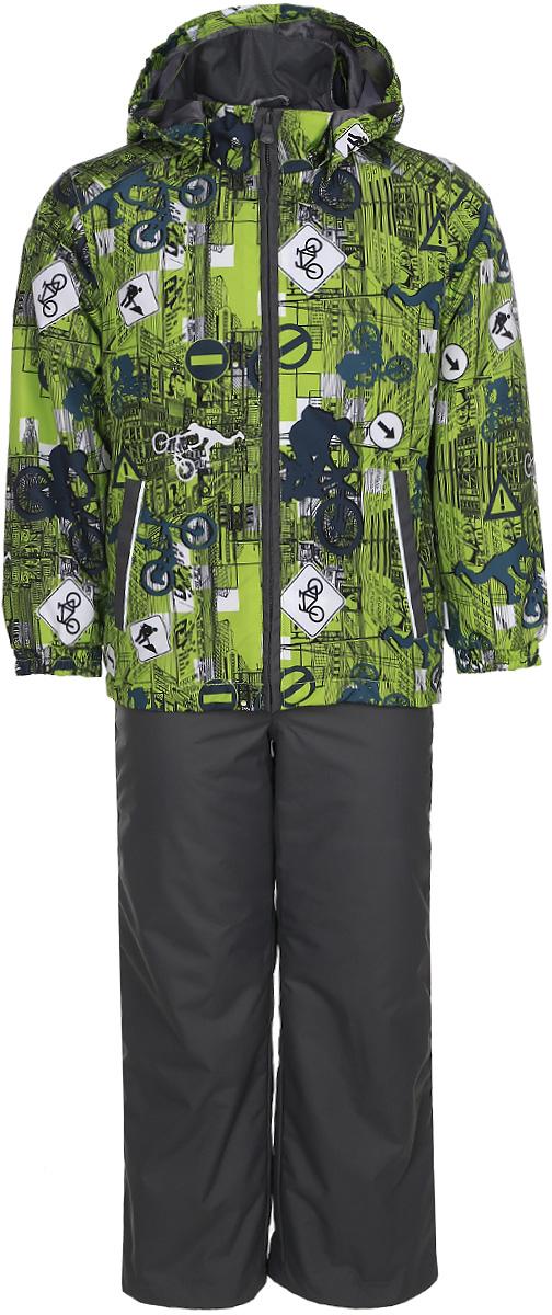 Комплект одежды для мальчика Huppa Yoko 1, цвет: лайм, серый. 41190104-72247. Размер 14641190104-72247Комплект верхней одежды для мальчика Huppa Yoko выполнен из износостойкого полиэстера и состоит из куртки и брюк. В качестве подкладки и утеплителя используется полиэстер. Ткань имеет водонепроницаемость 10000 мм, воздухопроницаемость 10000 г/м2. Брюки застегиваются на молнию и металлическую кнопку. Изделие дополнено съемными резиновыми подтяжками, длину которых можно регулировать. На талии имеется вшитая эластичная резинка. Снизу брючин предусмотрены шнурки-утяжки со стопперами. Куртка со съемным капюшоном и воротником-стойкой застегивается на молнию. Капюшон пристегивается при помощи кнопок. Манжеты рукавов собраны на внутренние резинки, низ куртки оснащен эластичным шнурком. Спереди модель дополнена двумя врезными карманами.Комплект оснащен светоотражающими элементами.
