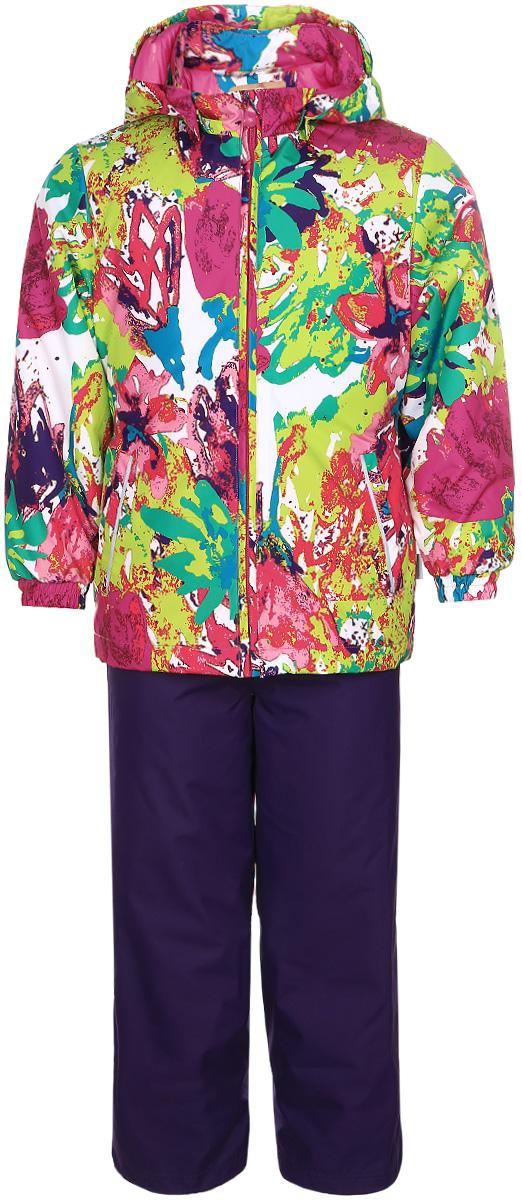 Комплект одежды для девочки Huppa Yonne: куртка, брюки, цвет: темно-лиловый, салатовый, розовый. 41260014-71273. Размер 9241260014-71273Комплект верхней одежды для девочки Huppa Yonne выполнен из износостойкого полиэстера и состоит из куртки и брюк. В качестве подкладки и утеплителя используется полиэстер. Ткань имеет водонепроницаемость 10000 мм, воздухопроницаемость 10000 г/м2. Брюки с высокой грудкой застегиваются на молнию. Изделие дополнено мягкими резиновыми лямками, регулируемыми по длине. На талии сзади и по бокам предусмотрена вшитая эластичная резинка. Снизу брючин предусмотрены шнурки-утяжки со стопперами. Куртка со съемным капюшоном и воротником-стойкой застегивается на застежку-молнию. Капюшон пристегивается при помощи кнопок. Манжеты рукавов и спинка на талии собраны на внутренние резинки. Спереди модель дополнена двумя врезными карманами.Комплект оснащен светоотражающими элементами.
