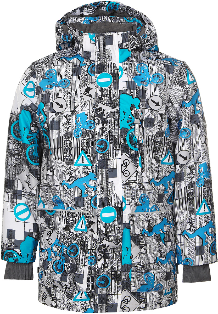 Куртка для мальчика Huppa Rolf, цвет: белый, голубой, серый. 17640004-72220. Размер 15817640004-72220Куртка для мальчика Huppa Rolf c длинными рукавами, воротником-стойкой и съемным капюшоном на кнопках и липучках выполнена из высококачественного водонепроницаемого и ветрозащитного материала на основе полиэстера. Наполнитель - синтепон. Воротник отделан мягким флисом изнутри. Модель застегивается на застежку-молнию с защитой подбородка спереди и имеет ветрозащитный клапан на липучках. Изделие имеет два накладных кармана с клапанами на кнопках, два открытых накладных кармана и нагрудный карман на застежке-молнии, дополненный узким клапаном. Рукава дополнены внутренними трикотажными манжетами. Объем талии куртки регулируется при помощи шнурка-кулиски. Куртка дополнена светоотражающими элементами, все швы проклеены. Модель украшена оригинальным контрастным принтом. Вес наполнителя - 40 г.