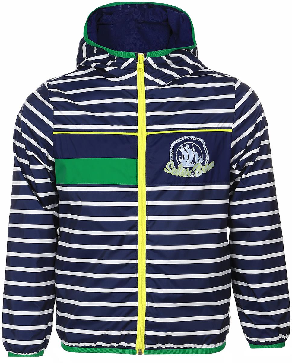 Куртка для мальчика Boom!, цвет: темно-синий. 70029_BOB_вар.1. Размер 74, 9 мес70029_BOB_вар.1Куртка для мальчика Boom! изготовлена из водонепроницаемого полиэстера. Куртка с капюшоном застегивается на пластиковую застежку-молнию. Края капюшона, рукавов и низа куртки отделаны тонкой эластичной резинкой. В боковых швах предусмотрены два прорезных кармана. Модель оформлена оригинальным принтом на груди и дополнена светоотражающими элементами.