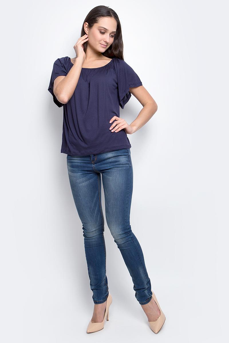 Футболка женская Baon, цвет: темно-синий. B237048. Размер L (48)B237048_Dark NavyЖенская футболка Baon выполнена из 100% вискозы. Модель с короткими рукавами и круглым вырезом горловины.