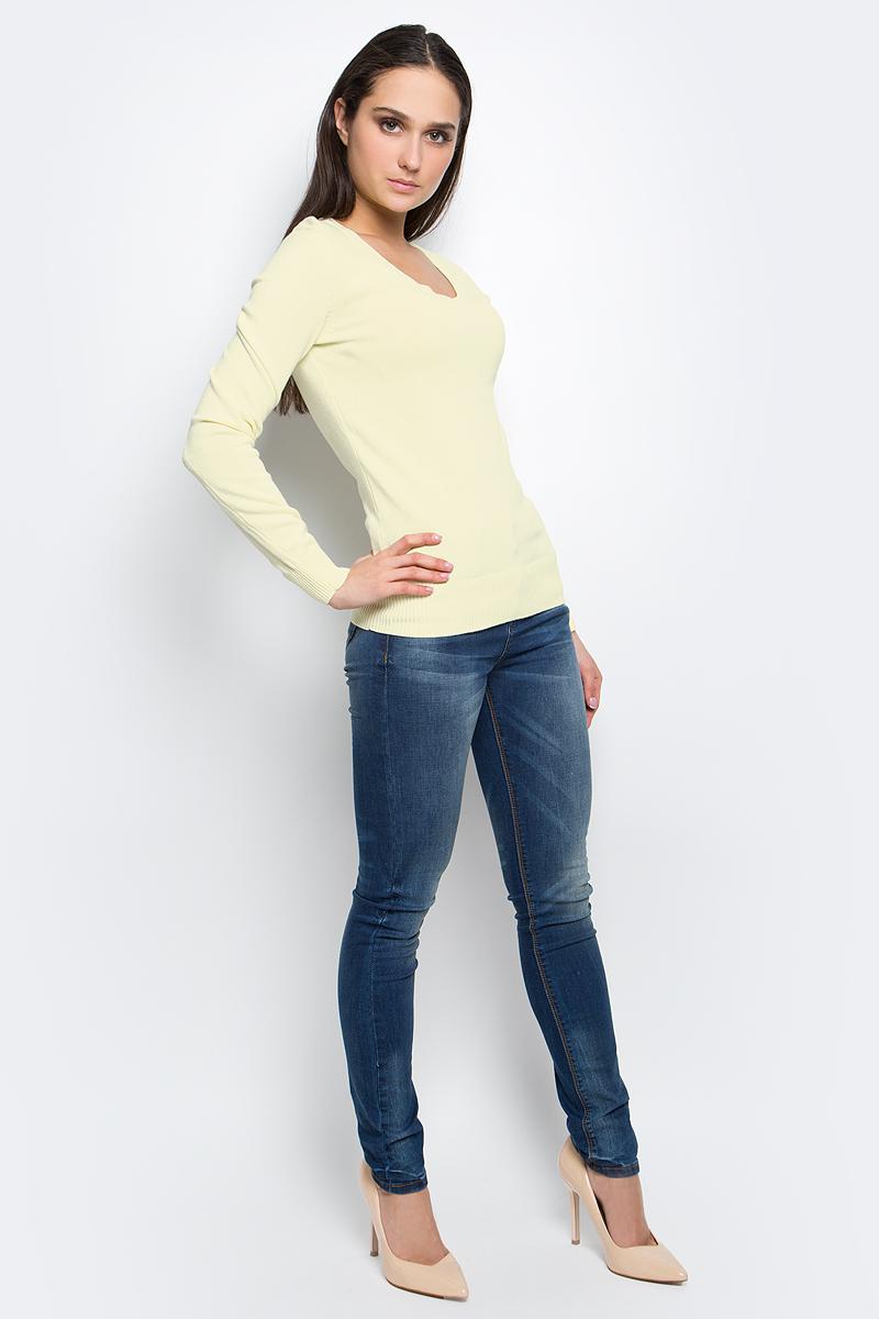 Пуловер женский Baon, цвет: желтый. B137201. Размер L (48)B137201_Cold ButterЭлегантный женский пуловер Baon выполнен из натурального хлопка. Модель с V-образным вырезом горловины и длинными рукавами. Низ и манжеты изделия выполнены мелкой резинкой.