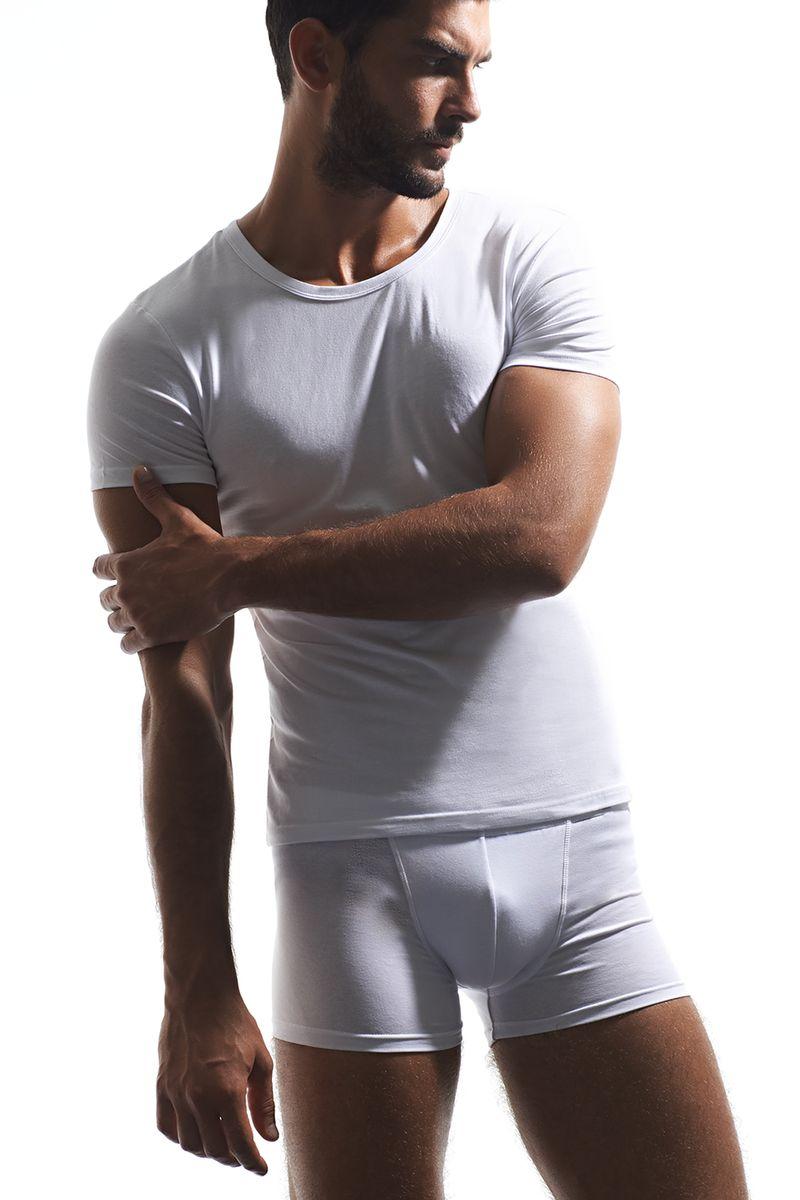 Футболка мужская Griff, цвет: белый. U01321. Размер L (48)U01321Мужская футболка Griff с короткими рукавами и круглым вырезом горловины выполнена из хлопка с добавлением эластана. Однотонная футболка великолепно тянется, не сковывает движения и превосходно сидит.