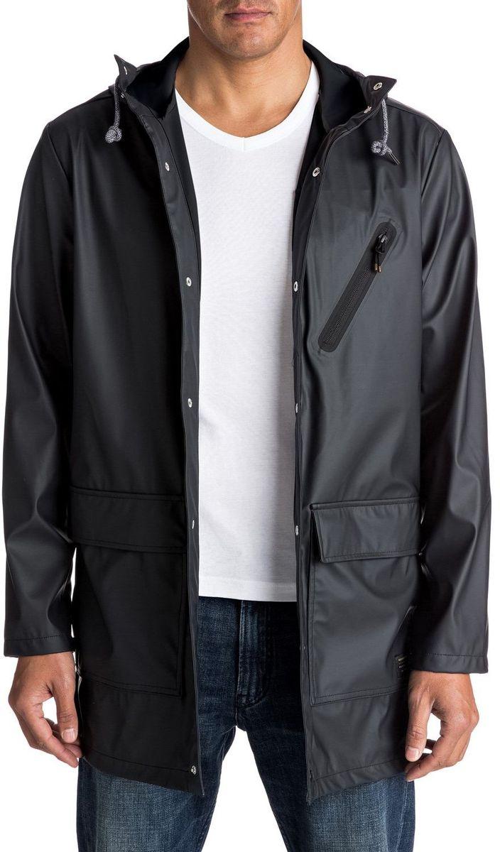 Куртка мужская Quiksilver, цвет: черный. EQYJK03309-KTA0. Размер L (50/52)EQYJK03309-KTA0Капюшон и технологичная ткань с водоотталкивающей пропиткой DWR не дадут промокнуть в ненастье, а отсутствие подкладки позволит надеть столько дополнительных слоев в особенно холодные дни, сколько вам захочется, для достижения желаемого уровня тепла.