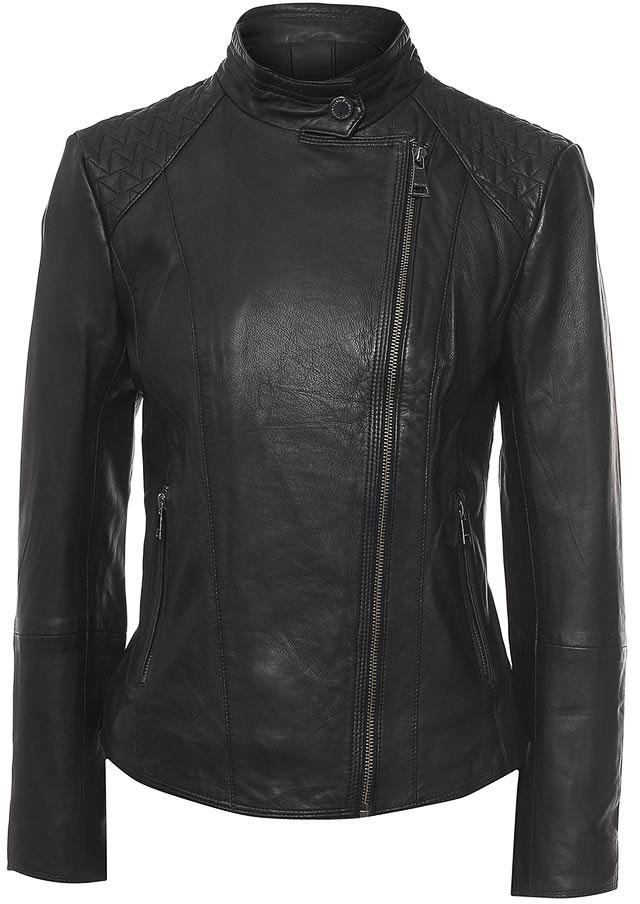 Куртка женская Finn Flare, цвет: черный. B17-11804_200. Размер L (48)B17-11804_200Куртка женская Finn Flare выполнена из натуральной кожи. Модель с воротником-стойкой и длинными рукавами застегивается на застежку-молнию.