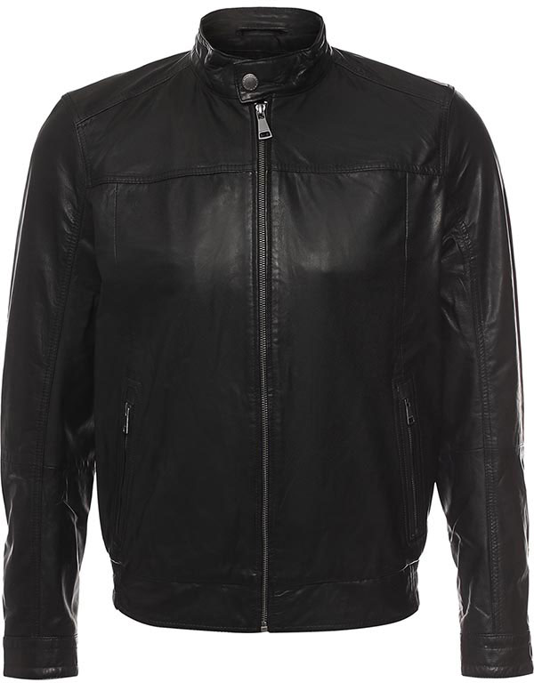 Куртка мужская Finn Flare, цвет: темно-синий. B17-21801_101. Размер L (50)B17-21801_101Куртка мужская Finn Flare выполнена из натуральной кожи. Модель с длинными рукавами и воротником-стойкой застегивается на застежку-молнию.