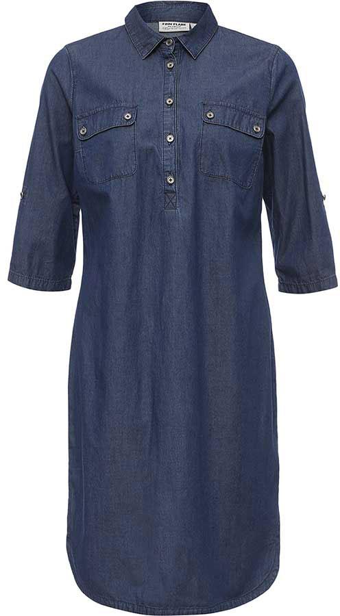 Платье Finn Flare, цвет: синий. B17-15005_125. Размер S (44)B17-15005_125Платье Finn Flare выполнено из натурального хлопка. Модель с отложным воротником и рукавами 3/4 застегивается на пуговицы.