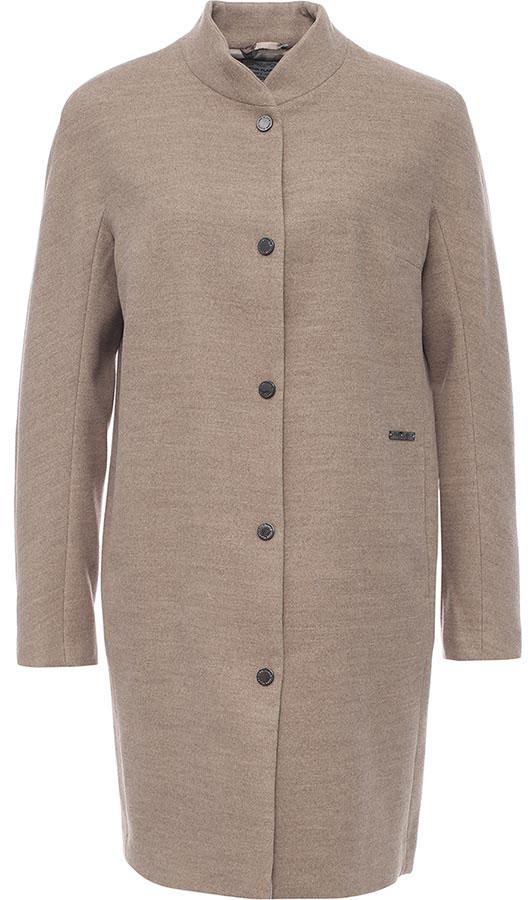 Пальто женское Finn Flare, цвет: светло-коричневый. B17-12000_602. Размер XL (50)B17-12000_602Пальто женское Finn Flare выполнено из полиэстера и вискозы. Модель с воротником-стойкой и длинными рукавами застегивается на кнопки.