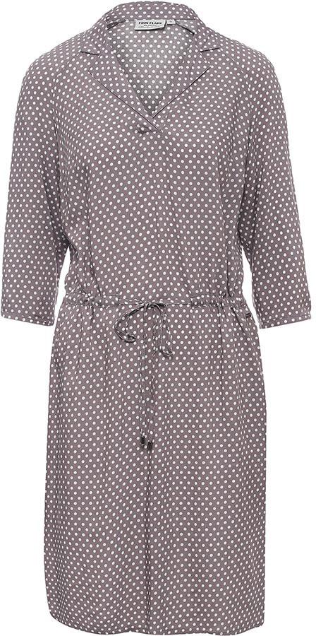 Платье Finn Flare, цвет: серый. B17-11080_205. Размер L (48)B17-11080_205Платье Finn Flare выполнено из вискозы. Модель с отложным воротником и рукавами 3/4 оформлено принтом в горох.