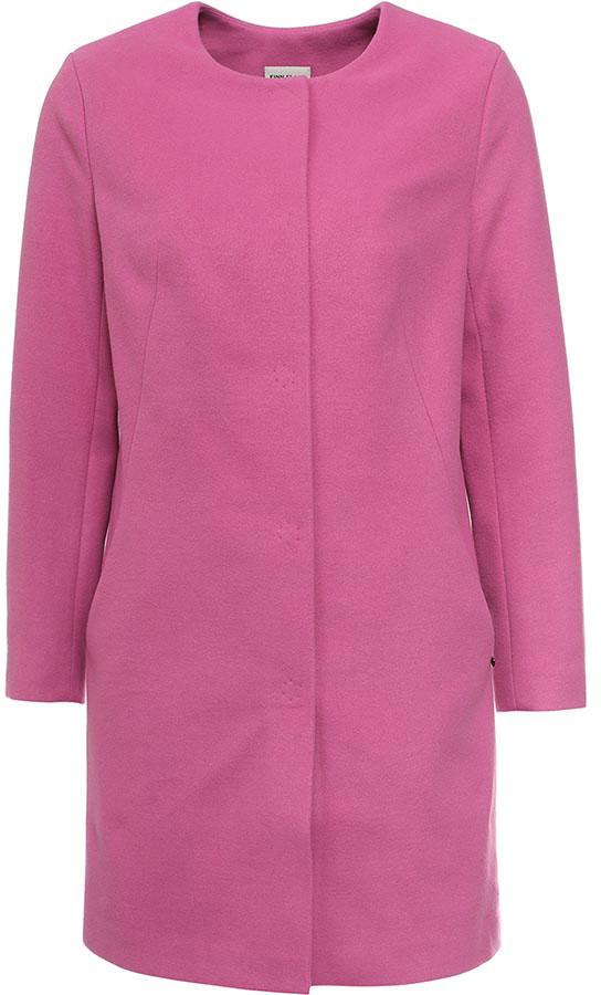 Пальто женское Finn Flare, цвет: розово-лиловый. B17-11091_350. Размер M (46)B17-11091_350Пальто женское Finn Flare изготовлено из мягкой смесовой ткани. Тонкая подкладка изготовлена из полиэстера. Модель с круглой горловиной застегивается на металлические кнопки. Пальто прямого кроя дополнено спереди двумя врезными карманами.