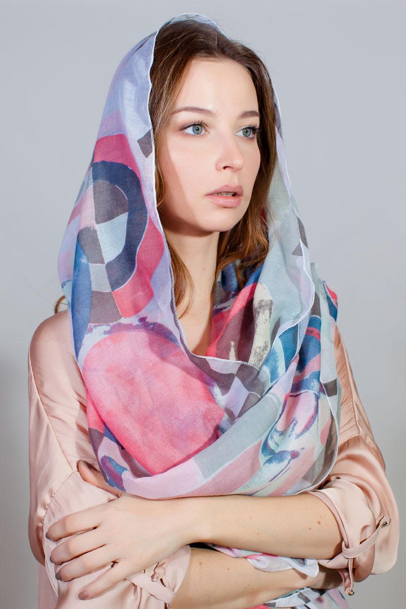 Палантин Fiona Fantozzi, цвет: белый, розовый, синий. YY-11733-5. Размер 80 см х 180 смYY-11733-5Стильный палантин изготовлен из модала и шелка. Изделие оформлено оригинальным принтом.