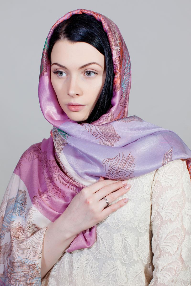 Палантин Sophie Ramage, цвет: розовый, сиреневый, белый. SJ-11778-1. Размер 90 см х 180 смSJ-11778-1Стильный палантин Sophie Ramage изготовлен из шелка и полиэстера. Изделие оформлено оригинальным принтом.