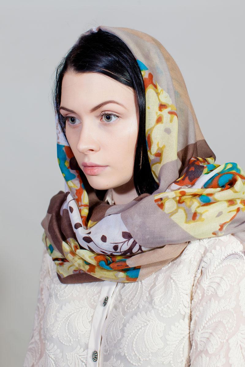 Палантин Sophie Ramage, цвет: бежевый, белый, коричневый. YY-11732-2. Размер 80 см х 180 смYY-11732-2Стильный палантин Sophie Ramage изготовлен из модала и шелка. Изделие оформлено оригинальным принтом.