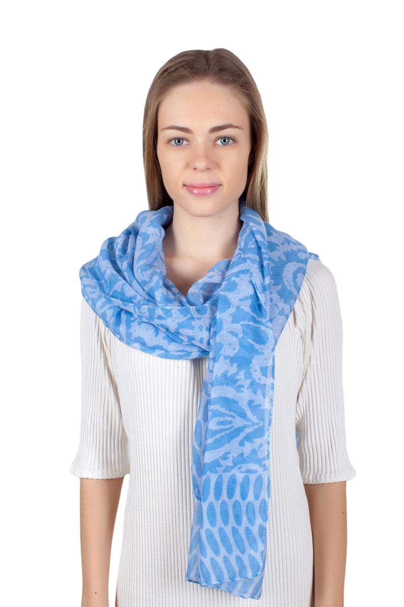 Палантин Sophie Ramage, цвет: голубой, белый. QA-11733-4. Размер 80 см х 180 смQA-11733-4Стильный палантин Sophie Ramage изготовлен из модала и шелка. Изделие оформлено оригинальным принтом.