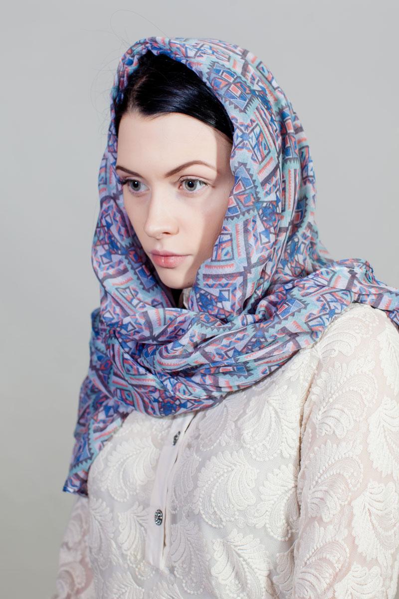 Палантин Sophie Ramage, цвет: голубой, серый. YY-11733-13. Размер 80 см х 180 смYY-11733-13Стильный палантин Sophie Ramage изготовлен из модала. Изделие оформлено оригинальным принтом.