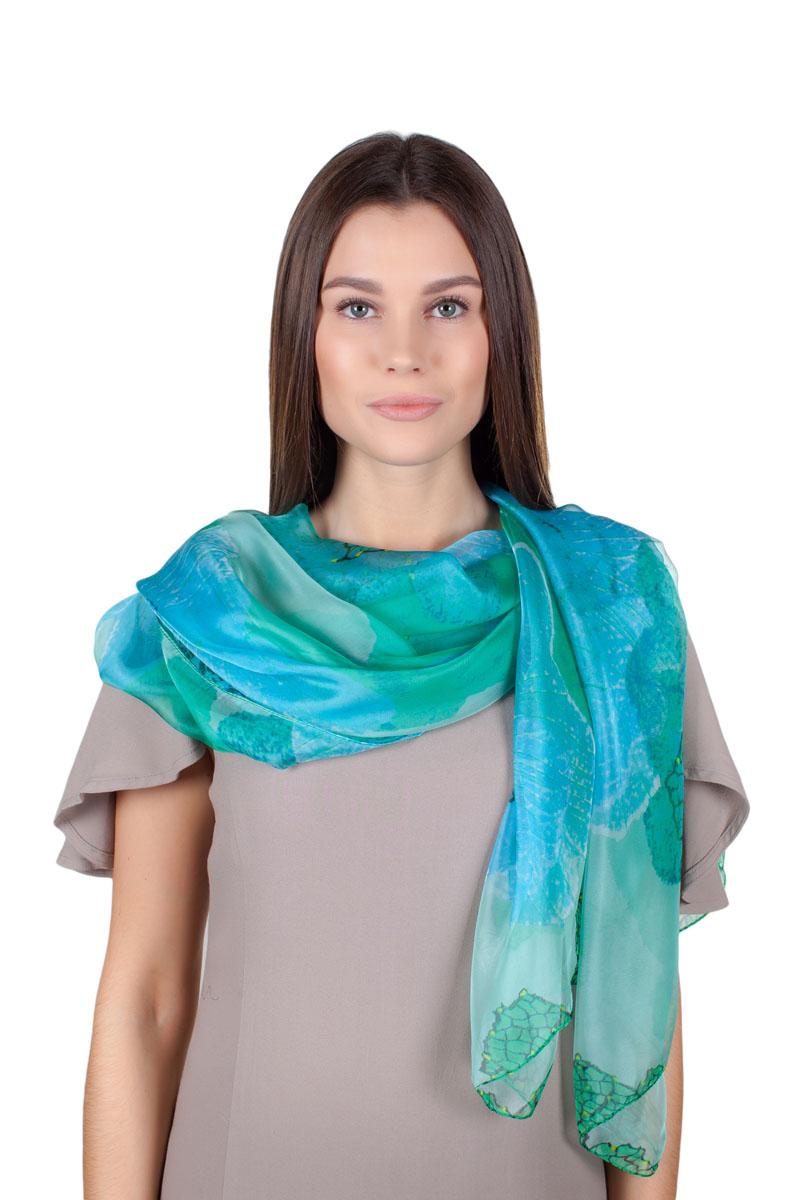 Палантин Sophie Ramage, цвет: зеленый, голубой. QA-11706-7. Размер 135 см х 180 смQA-11706-7Стильный палантин Sophie Ramage изготовлен из шелка и полиэстера. Изделие оформлено оригинальным принтом.