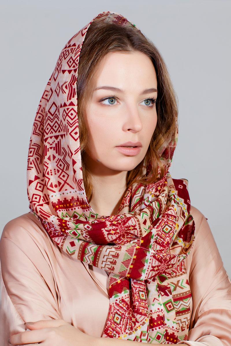 Палантин Sophie Ramage, цвет: красный, розовый. YY-11733-25. Размер 80 см х 180 смYY-11733-25Стильный палантин Sophie Ramage изготовлен из модала и шелка. Изделие оформлено оригинальным принтом.
