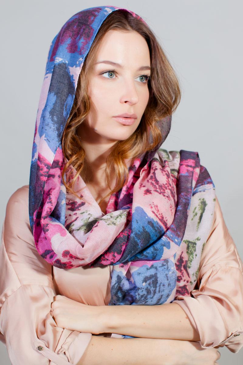 Палантин Sophie Ramage, цвет: розовый, голубой, черный. YY-11731-14. Размер 86 см х 180 смYY-11731-14Стильный палантин Sophie Ramage изготовлен из модала и шелка. Изделие оформлено оригинальным принтом.