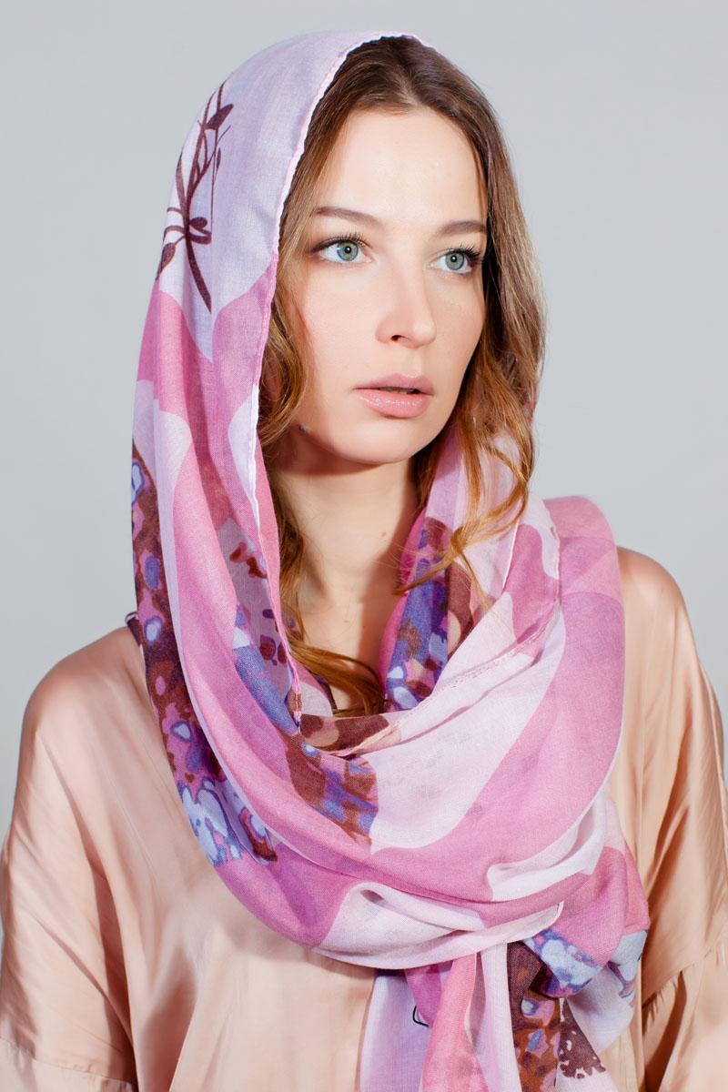 Палантин Sophie Ramage, цвет: розовый, белый, коричневый. YY-11732-6. Размер 80 см х 180 смYY-11732-6Стильный палантин Sophie Ramage изготовлен из модала и шелка. Изделие оформлено оригинальным принтом.