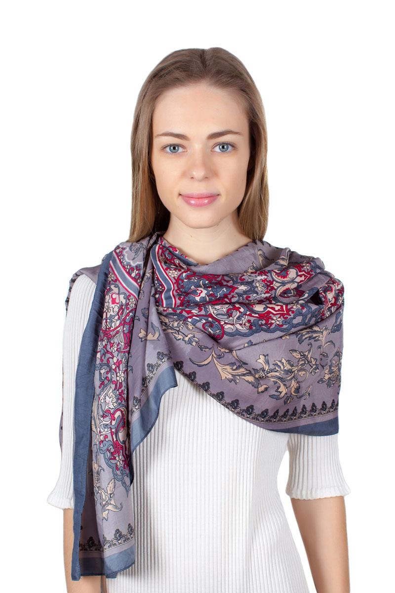 Палантин Sophie Ramage, цвет: серый, синий, красный. YY-11711-15. Размер 70 см х 180 смYY-11711-15Стильный палантин Sophie Ramage изготовлен из качественной смесовой ткани. Изделие оформлено оригинальным принтом.