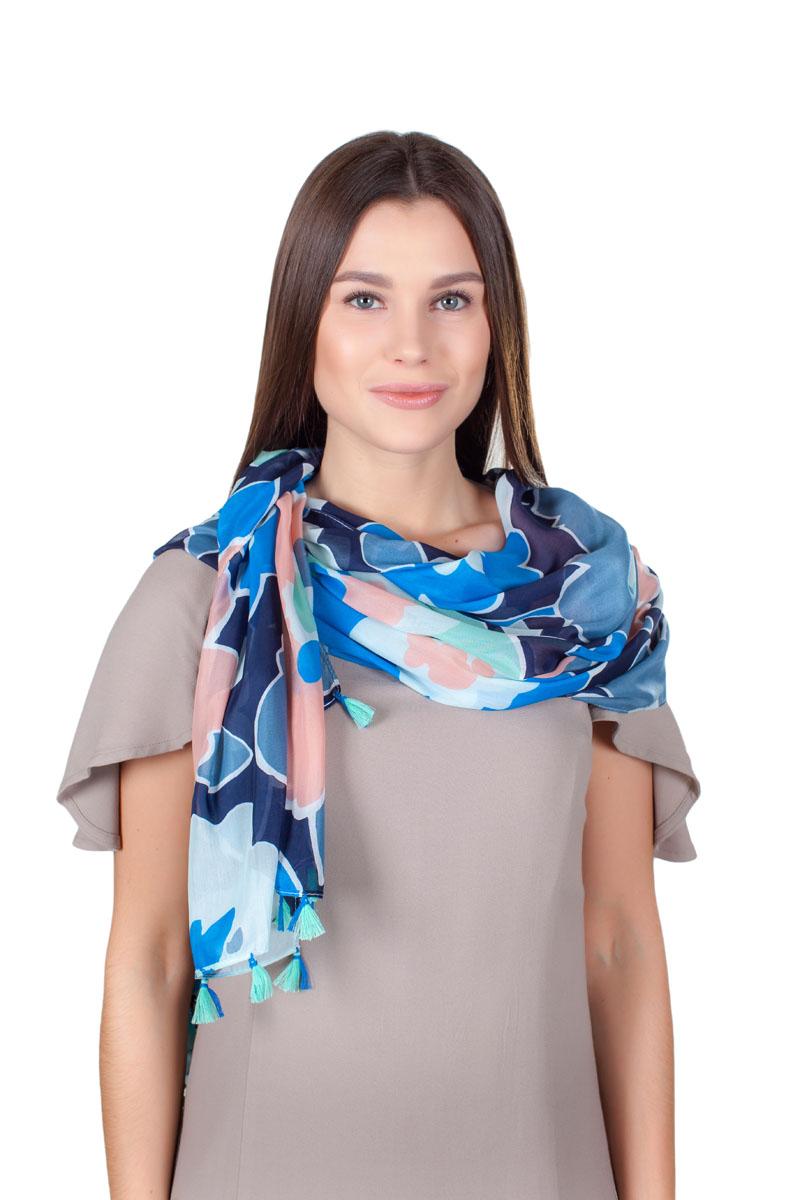 Палантин Sophie Ramage, цвет: синий, голубой, белый. QA-11718-16. Размер 90 см х 180 смQA-11718-16Стильный палантин Sophie Ramage изготовлен из модала и шелка. Изделие оформлено оригинальным принтом. По краям имеются декоративные кисточки.