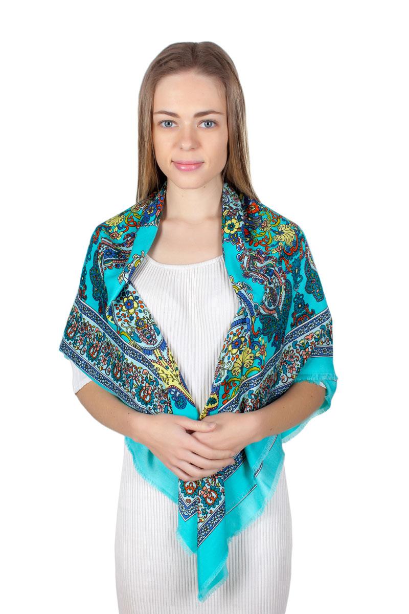 Платок женский Laura Milano, цвет: бирюзовый, синий, желтый. YY-11712-17. Размер 110 см х 110 смYY-11712-17Стильный платок изготовлен из качественной смесовой ткани. Изделие оформлено оригинальным принтом.