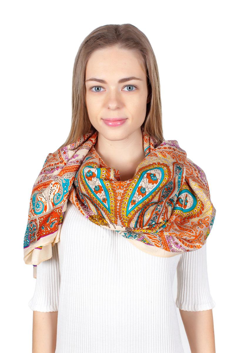 Платок женский Sophie Ramage, цвет: мультиколор. YY-11713-12. Размер 140 см х 140 смYY-11713-12Стильный платок изготовлен из модала и шелка. Изделие оформлено оригинальным принтом.