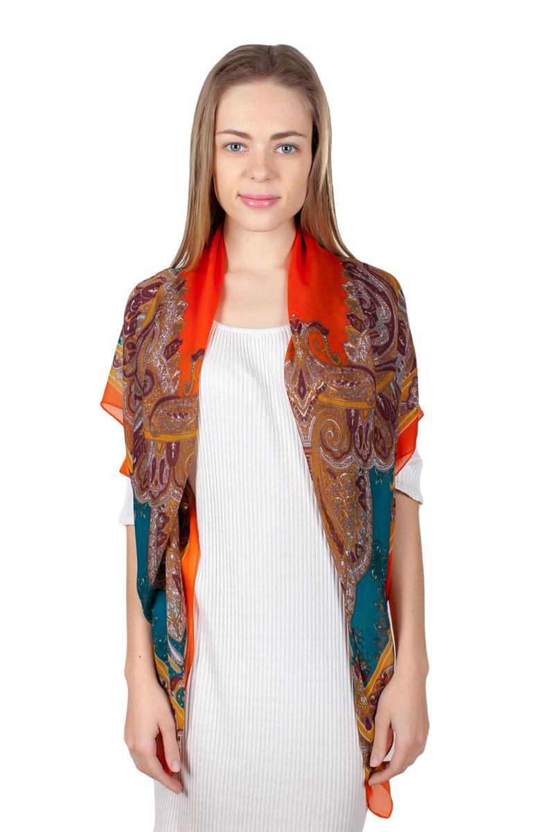 Платок женский Sophie Ramage, цвет: оранжевый, бирюзовый. YY-11721-6. Размер 110 см х 110 смYY-11721-6Стильный платок изготовлен из модала и шелка. Изделие оформлено оригинальным принтом.