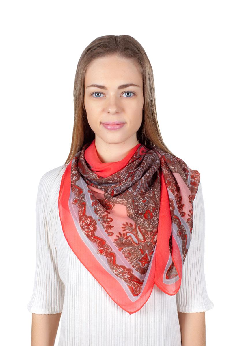 Платок женский Sophie Ramage, цвет: розовый, коричневый. YY-11721-1. Размер 110 см х 110 смYY-11721-1Стильный платок изготовлен из модала и шелка. Изделие оформлено оригинальным принтом.