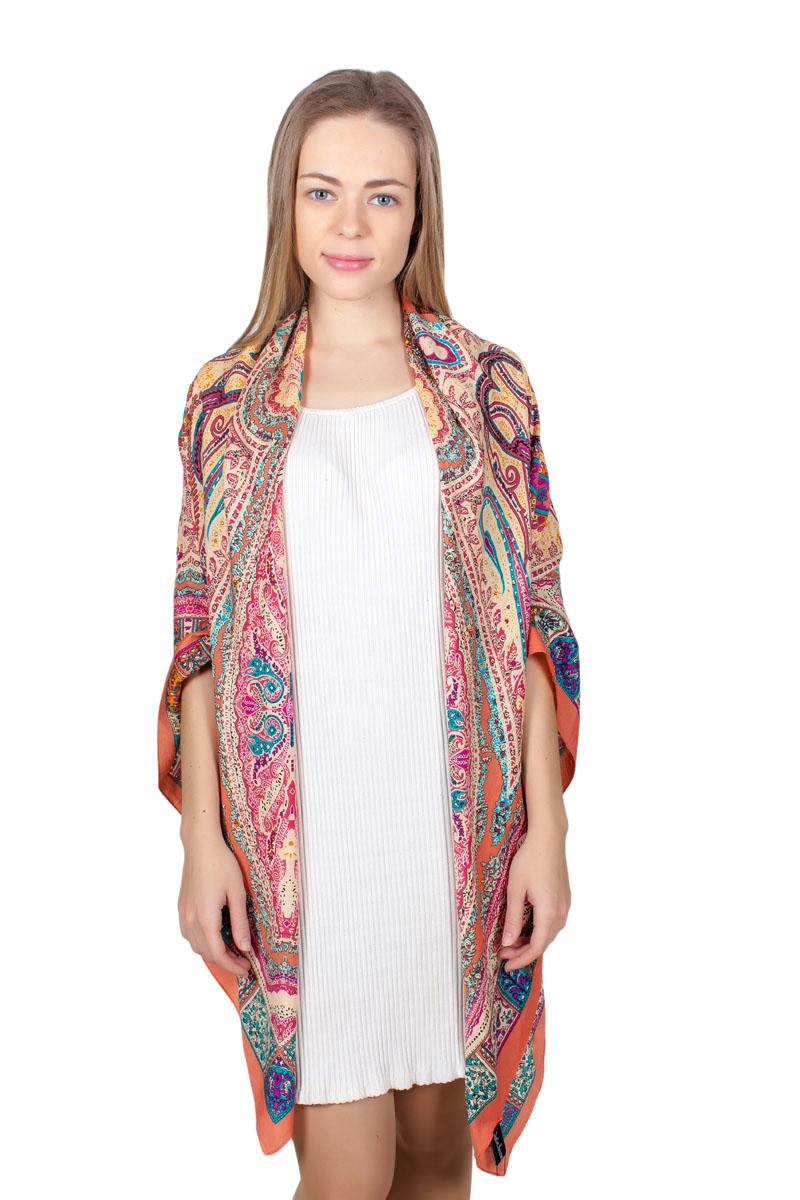 Платок женский Sophie Ramage, цвет: терракотовый. YY-11713-22. Размер 140 см х 140 смYY-11713-22Стильный платок изготовлен из модала и шелка. Изделие оформлено оригинальным принтом.