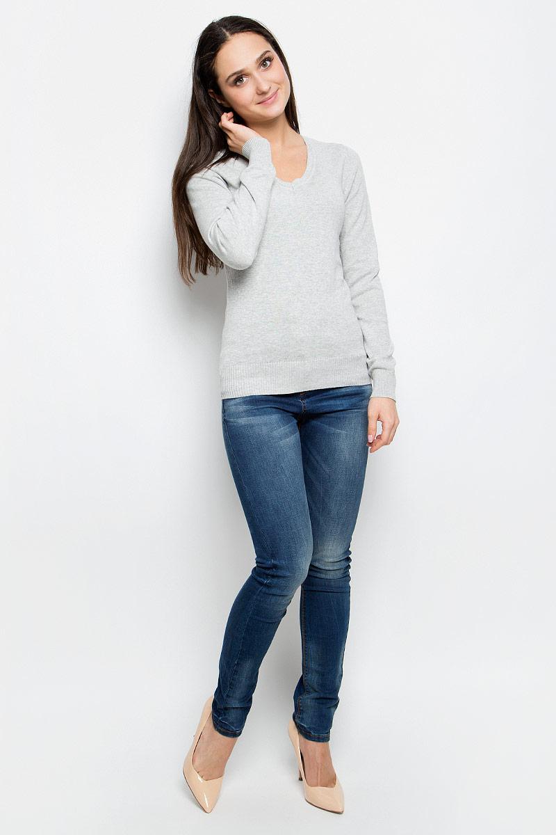 Пуловер женский Baon, цвет: серый. B137201. Размер XL (50)B137201_Silver MelangeЭлегантный женский пуловер Baon выполнен из натурального хлопка. Модель с V-образным вырезом горловины и длинными рукавами. Низ и манжеты изделия выполнены мелкой резинкой.