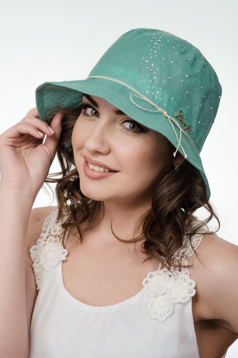Шляпа женская Level Pro, цвет: светло-зеленый. 381151. Размер 56/58381151Элегантная женская шляпа Level Pro выполнена из натурального льна. Модель с невысокой тульей и загнутыми вниз полями,по тулье оформлена тонким шнурком и сбоку логотипом бренда. Тулья изделия оформлена кристаллами.