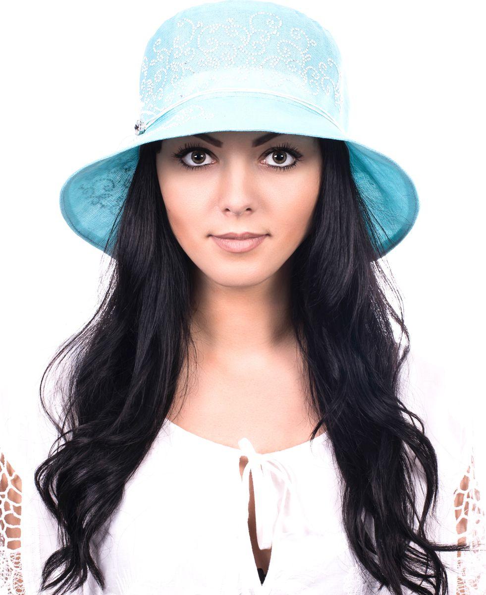 Шляпа женская Level Pro, цвет: голубой. 392424. Размер 56/58392424Элегантная женская шляпа Level Pro выполнена из натурального льна. Модель с невысокой тульей и загнутыми вниз полями. Шляпа по тулье оформлена тонкой тесьмой. Верх модели оформлен кристаллами.