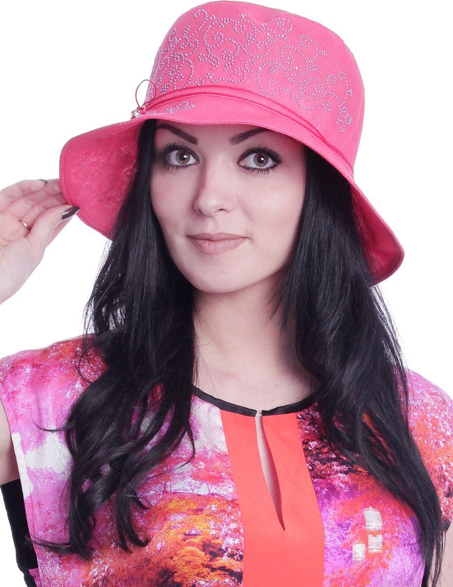 Шляпа женская Level Pro, цвет: коралловый. 392425. Размер 56/58392425Элегантная женская шляпа Level Pro выполнена из натурального льна. Модель с невысокой тульей и загнутыми вниз полями,по тулье оформлена тонким шнурком и сбоку логотипом бренда. Тулья изделия оформлена кристаллами.
