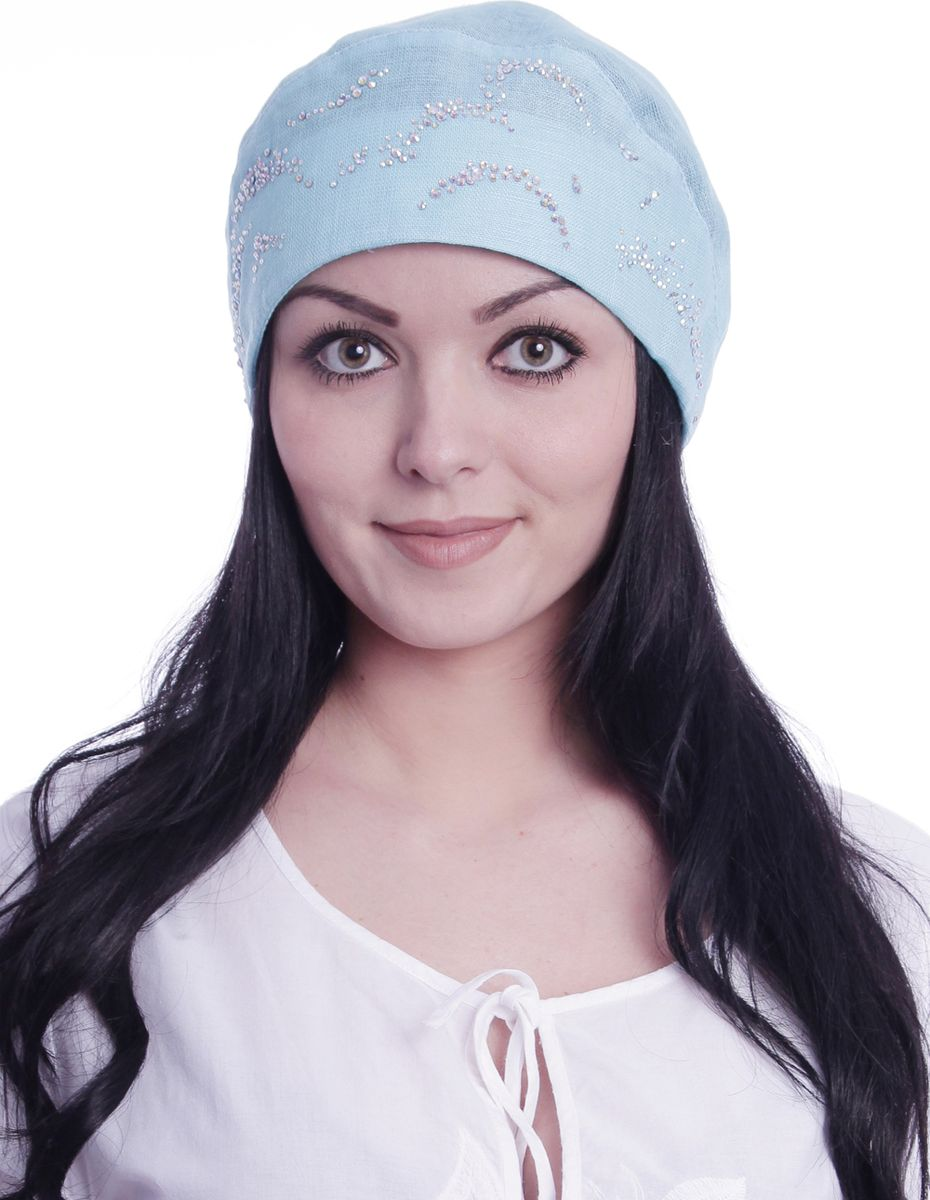Бандана женская Level Pro, цвет: голубой. 392496. Размер 56/58392496Бандана женская Level Pro изготовлена из качественного натурального льна. Ткань сзади собрана на внутреннюю резинку. Модель дополнена металлическими стразами.