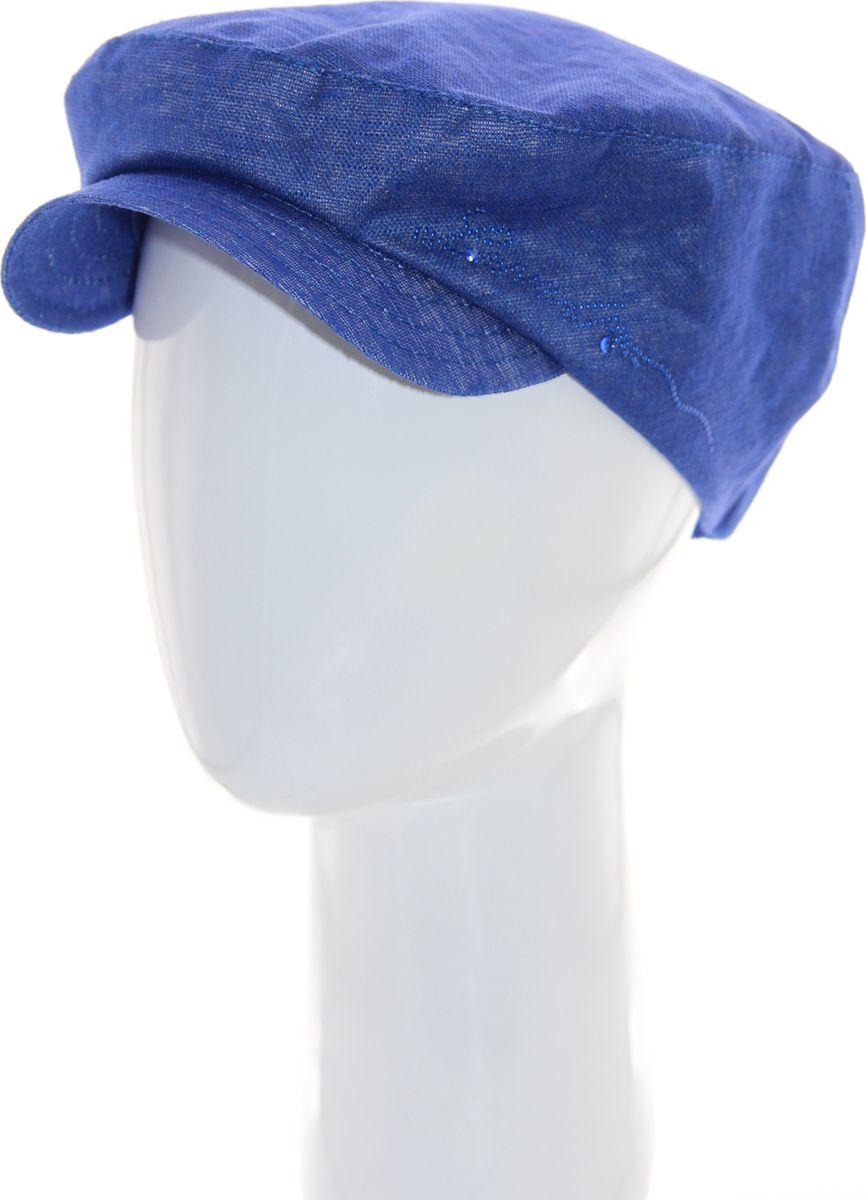 Кепка женская Level Pro, цвет: синий. 392678. Размер 56/58392678Кепка женская Level Pro изготовлена из качественного натурального льна. Ткань сзади собрана на внутреннюю резинку. У модели имеется небольшой мягкий козырек. С одного края кепка декорирована металлическими стразами. Размер, доступный для заказа, является обхватом головы.