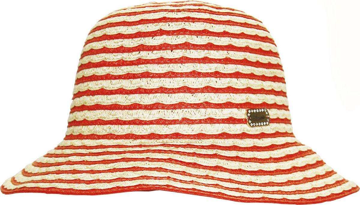 Шляпа женская Avanta, цвет: бежевый, оранжевый. 991941. Размер 55/56991941Стильная летняя шляпа Avanta, выполненная из бумаги с добавлением полиэстера, станет незаменимым аксессуаром для пляжа и отдыха на природе, и обеспечит надежную защиту головы от солнца. Шляпа оформлена плетением. Шляпа по тулье сбоку дополнена металлической пластиной с кристаллами. Такая шляпа подчеркнет вашу неповторимость и дополнит ваш повседневный образ.