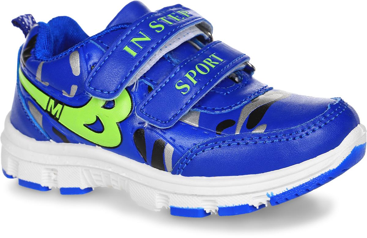 Кроссовки для мальчика In Step, цвет: синий, салатовый. HF026-1. Размер 30HF026-1Кроссовки In Step, выполненные из искусственной кожи, оформлены оригинальным принтом и декоративным тиснением. На ноге модель фиксируется с помощью двух ремешков с застежками-липучками, оформленными фирменными надписями. Ярлычок на заднике облегчит надевание модели. Внутренняя поверхность из сетчатого текстиля комфортна при движении. Стелька выполнена из ЭВА-материала с поверхностью из текстиля. Подошва изготовлена из полимера и дополнена рельефным рисунком.